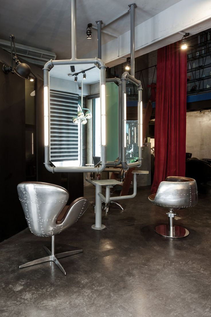 Salon de coiffure contemporain. Industrial StyleIndustrial Salon DesignHair  ...
