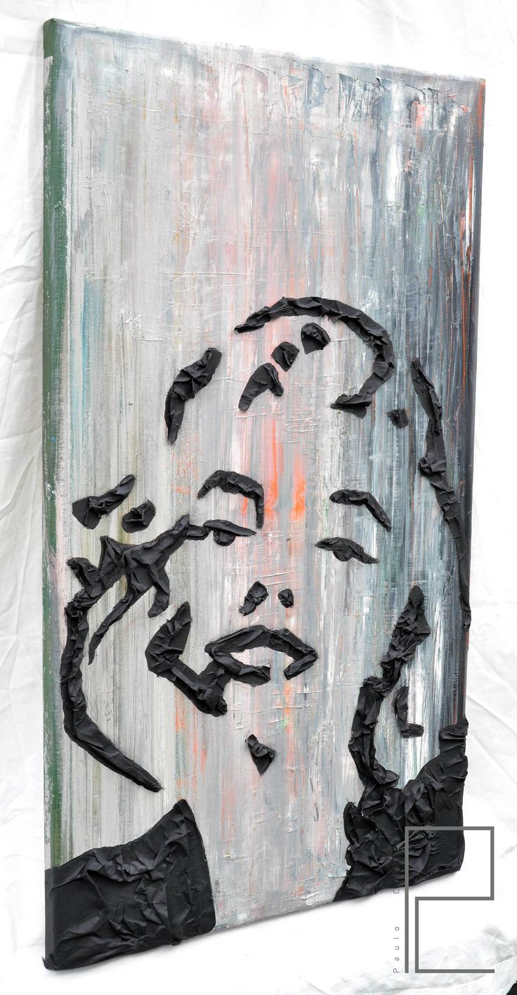 """Painting """"Marilyn"""" by Paulo Crafter Mixed media, paper, oil and acrylic on canvas . 45x90 cm"""