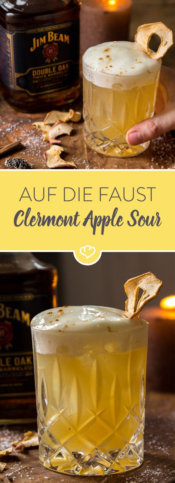 Lust auf einen herbstlichen Cocktail mit Äpfeln und Zimt? Dann probiere auf jeden Fall diesen fantastischen Apple Sour mit Jim Beam Double Oak Whisky.