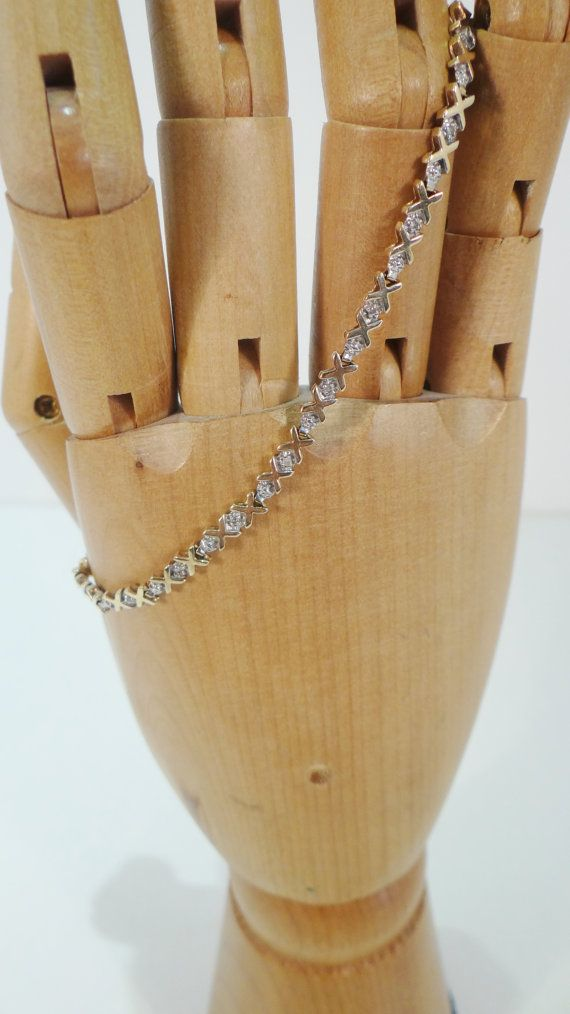 Stunning Vintage .34 ct Diamond and 9ct Gold Cross Bracelet by crabtulip, £200.00