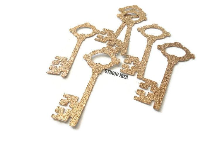 """Champagne Gold Glitter Vintage Key 2.5"""" Cut-outs, Embellishments - or Choose Your Colors-Set of 40pcs, 80pcs by StudioIdea on Etsy"""