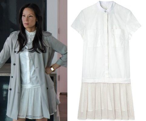 Elementary Season 2, Episode 8: Joan Watson's (Lucy Liu) Rag & Bone drop-waist Adele dress #getthelook #elementary  #joanwatson