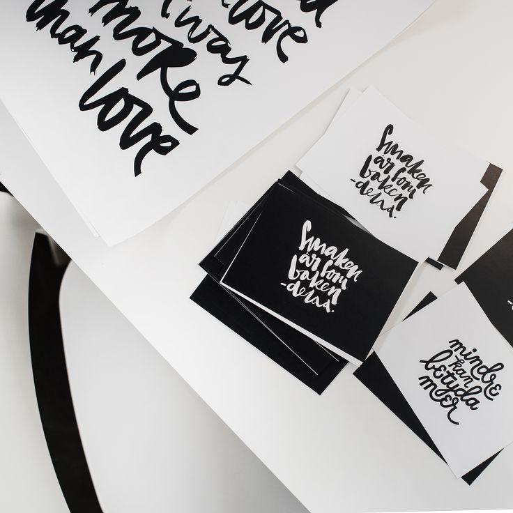 Lettering. Handettering. Typography. Handmade font. Postcards. Flatlay. Graphic design. Grafisk formgivning.