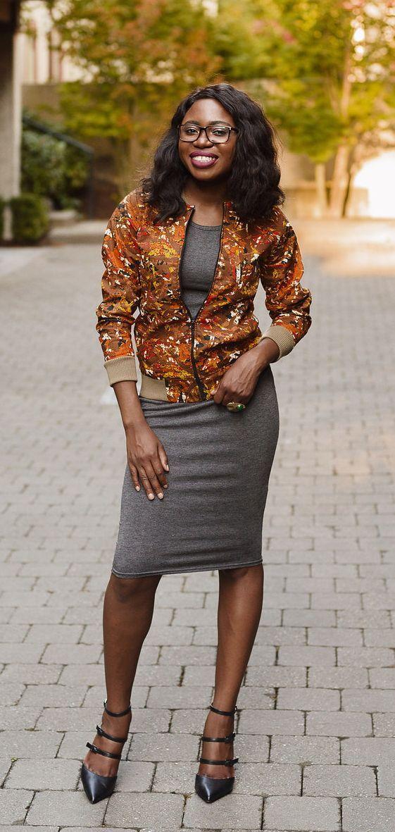 African Print Ankara Bomber Jacket Fashion Blogger Style