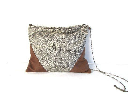 Leather and cotton handbag - with antique brass chain