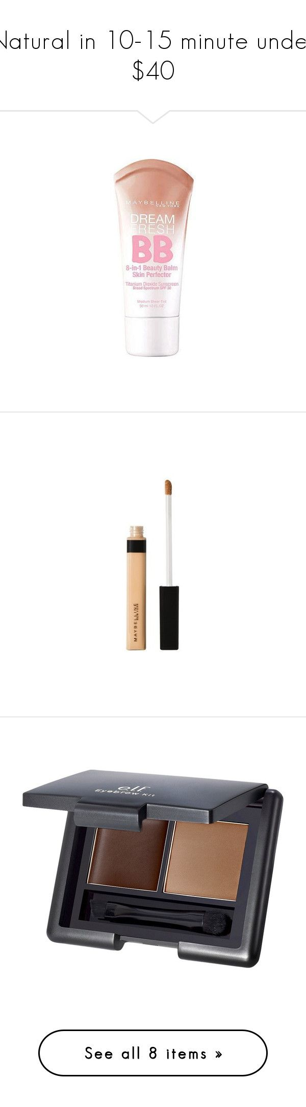 """Natural in 10-15 minute under $40"" by samleghost ❤ liked on Polyvore featuring beauty products, makeup, face makeup, tinted moisturizer, maybelline face makeup, maybelline, maybelline tinted moisturizer, concealer, maybelline concealer and oil free concealer"
