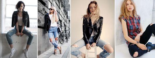 """Jeans destroyed!  Os jeans destroyed surgiram com o punk rock. Na época quanto mais rasgada mais estilosa e símbolo de """"anarquia"""".  Hoje é um hobby customizar calças e shorts para compor looks para um visual rock and roll."""