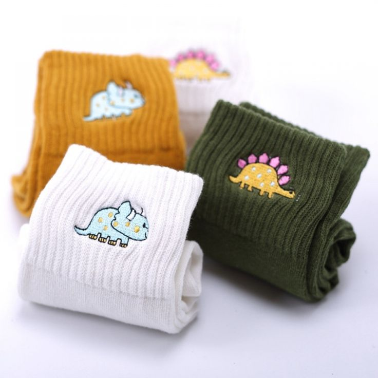 Cute Creative Fashion Embroidery Dinosaur Cotton Socks for Women