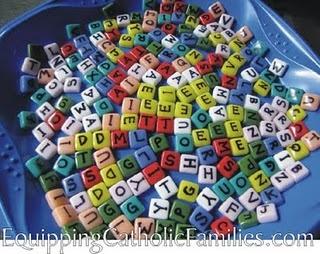 Homemade Rainbow Scrabble Tiles