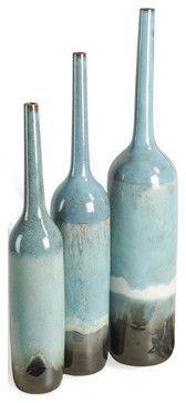 Oslo Beach Style Aqua Blue Large Bud Vase Trio - transitional - Vases - Kathy Kuo Home $555 for 3