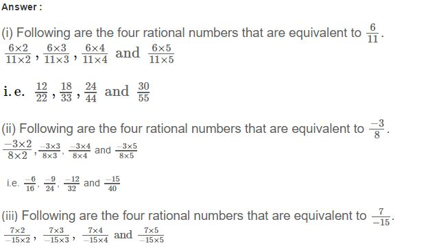 CBSE Rational Numbers RS Aggarwal Class 7 Maths Solutions Exercise 4A
