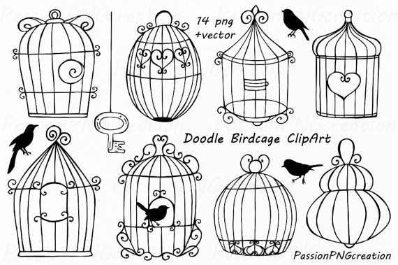 Doodle Birdcage ClipArt, Wedding bird cages, Lovebird, Bird Cage Clip Art, PNG, EPS, AI, vector, Hand Drawn, For Personal and Commercial Use