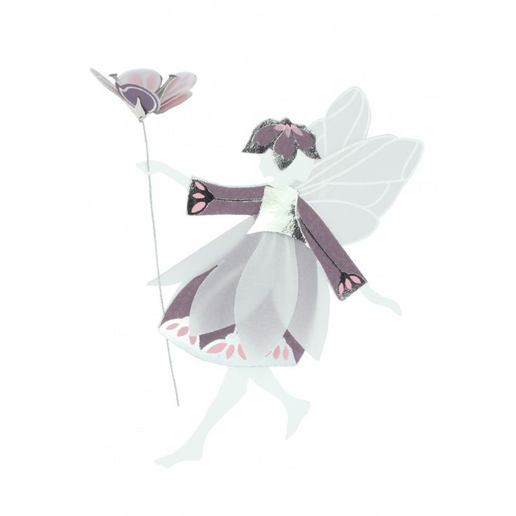 Purple, Pink and Silver Fairy with flower, Medium
