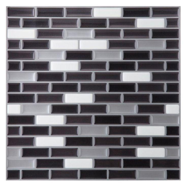 Achim Magic Gel Silver/Black 9.13 x 9.13 in. Self-Adhesive Vinyl Wall Tile - MGTSPCMT24
