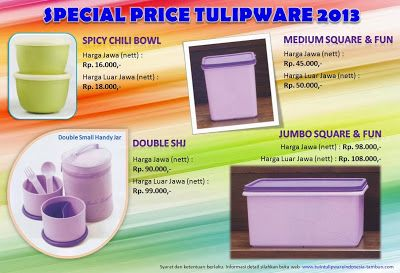 Special Price Tulipware 2013 : ~ Spicy Chili Bowl ~ Double SHJ ~ Medium Square & Fun ~ Jumbo Square & Fun