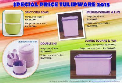 Special Price Tulipware 2013 : ~ Spicy Chili Bowl ~ Double SHJ ~ Medium Square & Fun ~ Jumbo Square & Fun