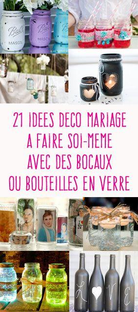 21 idées déco de mariage avec des bocaux ou bouteilles en verre