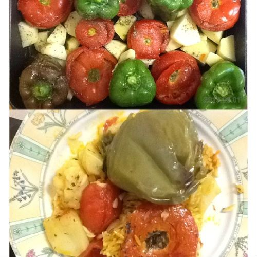 GREEK FOOD WITH FRESH TOMATOES, PEPPERS AND RISE