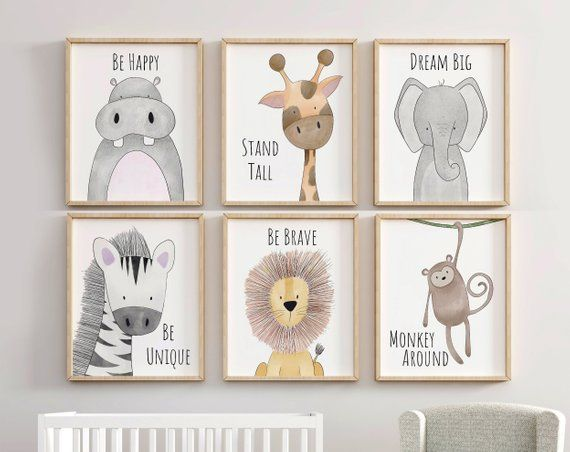 Safari Nursery Decor Set, Animal Nursery Prints, Quote Nursery Print, Peekaboo Nursery, Safari Print Set, Safari Nursery, Neutral Nursery