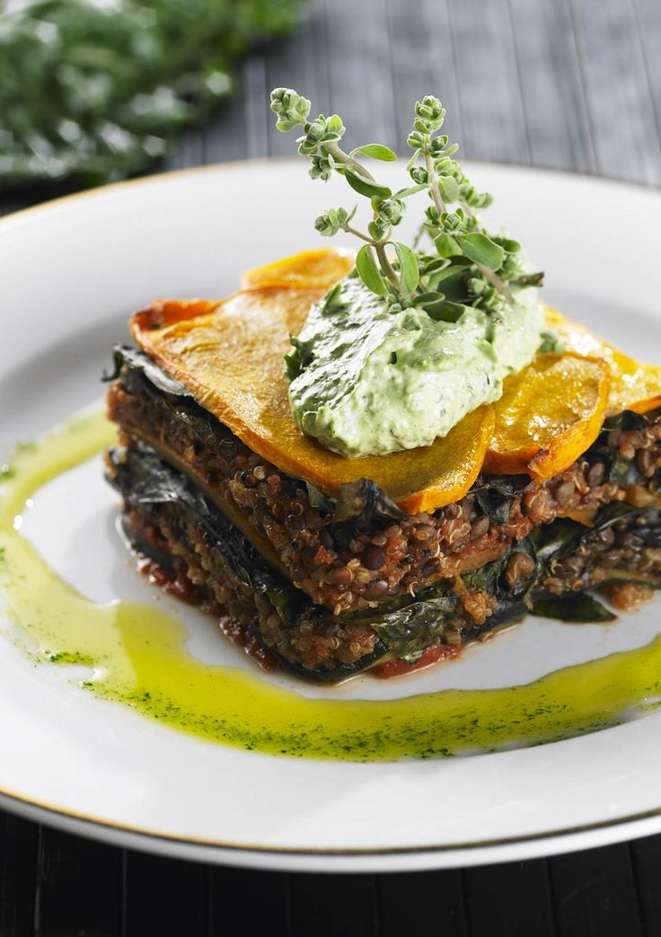 Moussaka   Using thinly sliced vegetables is a great alternative to lasagna in this vegetable, fiber and nutrient-dense moussaka. Lentils are low in two essential amino acids, methionine and cysteine, but when combined with quinoa, a seed, the dish presents a complete protein.   www.drlibby.com