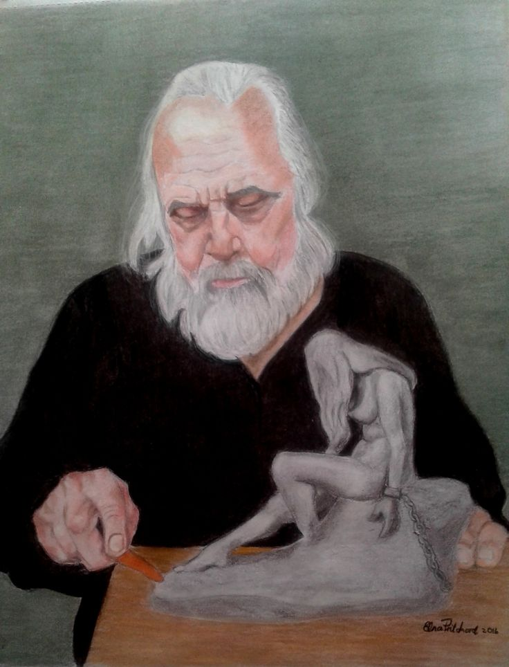 The Sculptor Pastel on paper A2 size