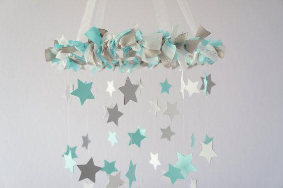 Aqua Gray Nursery Star Mobile Baby Nursery door LoveBugLullabies, $63.00  https://www.etsy.com/nl/listing/115939215/aqua-gray-nursery-star-mobile-baby?ref=sr_gallery_1&ga_search_query=nursery+star+grey&ga_search_type=all&ga_view_type=gallery