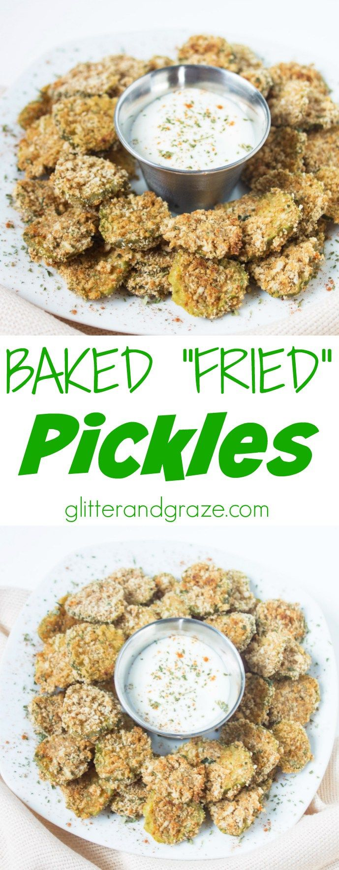 """Baked """"Fried"""" Pickles.  Great classic turned Healthy"""
