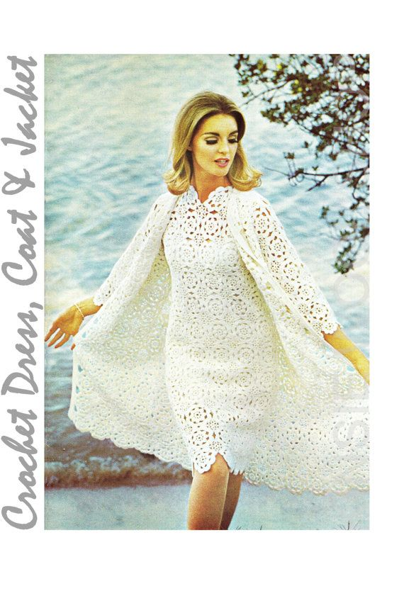 "Vintage Crochet Dress Pattern ""COAT & JACKET"" Pattern PDF - Dress Coat / Jacket on Etsy, $3.20"