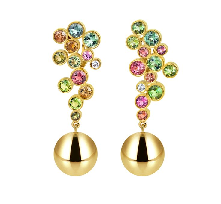 Multicolored tourmaline and ball earrings in 18k gold by Elena Votsi
