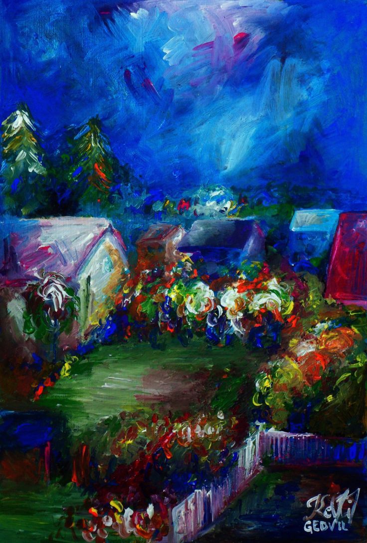 An Original Acrylic Impressionistic Estonian Colourful Home Landscape Painting on Wood by Kelli Gedvil! 48 x 32 cm (19 x 12 inches)