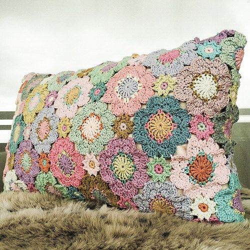 My finished flower pillow, picture taken in the oddest light. | by Alicebyday