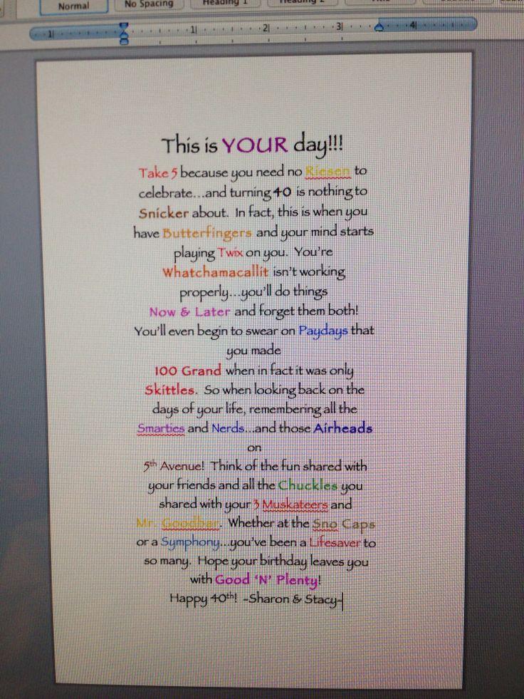 40th Birthday Candy Poem Birthday Ideas Pinterest