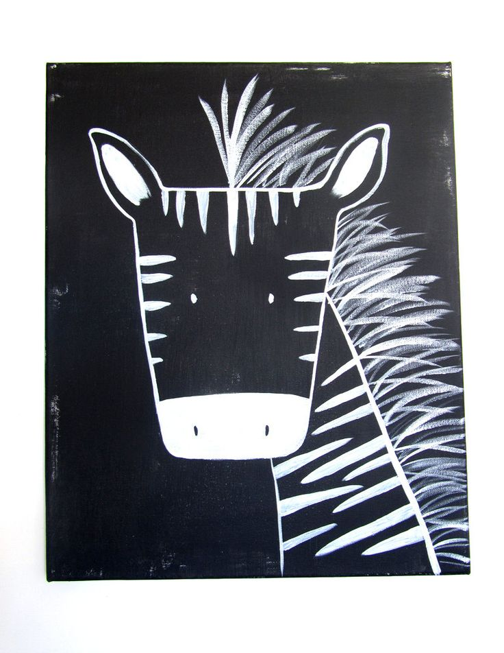 "Modern Kids and Nursery Zebra Art Original Painting - 16"" x 20"" on regular 3/4"" depth canvas - The Zebra. $75,00, via Etsy."