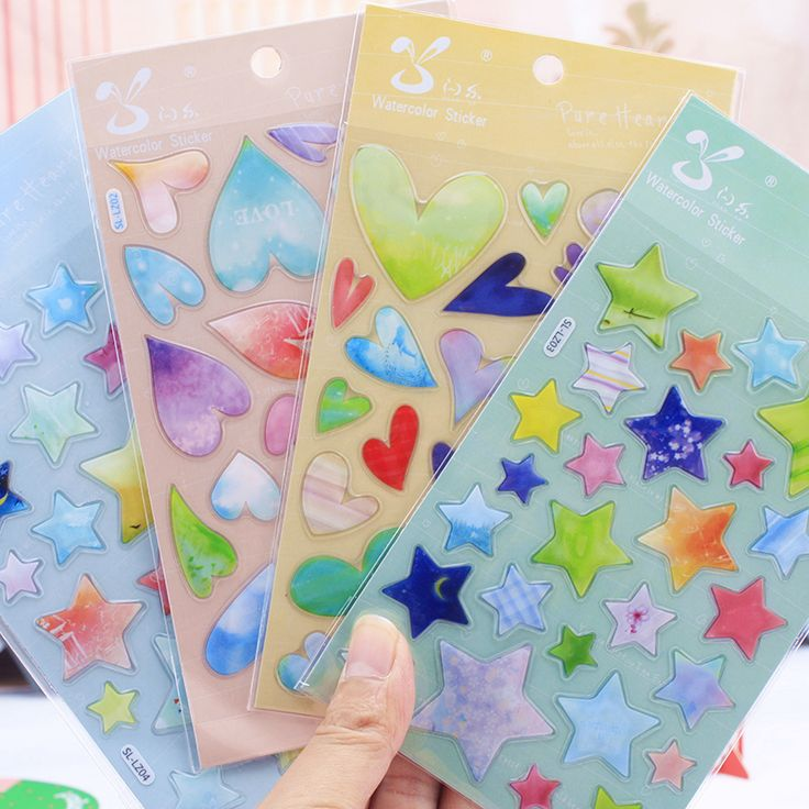 DIY Cute Kawaii Cartoon 3D Scrapbook Paper Stickers Creative Heart Star Sticker For Home Decoration Free Shipping 1047-in Memo Pads from Office & School Supplies on Aliexpress.com | Alibaba Group
