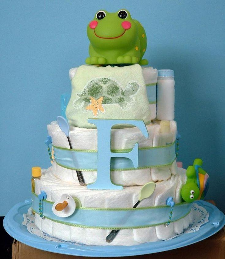 Windeltorte als Geschenk zur Geburt - Frosch