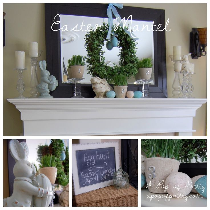 easter decorations for the home | Easter Mantel + BH&G Real Home Spring & Easter Mantel Decorating Ideas ...