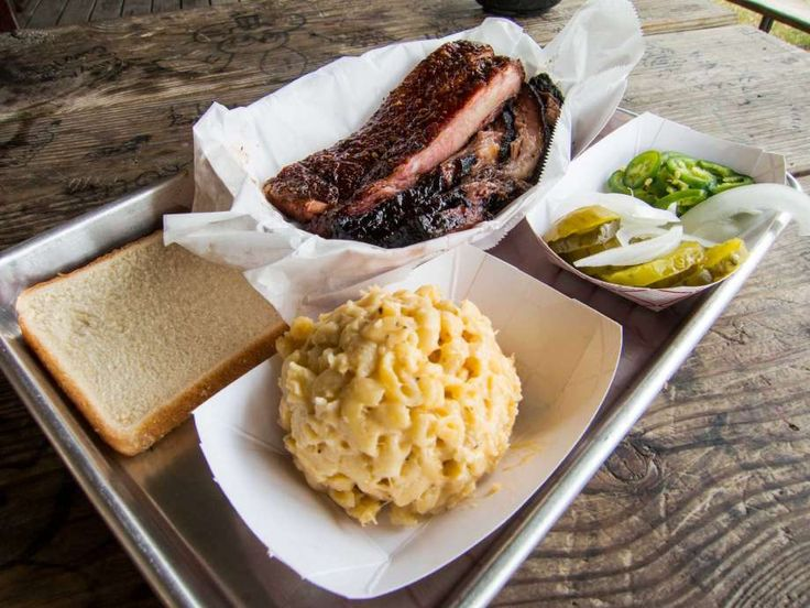 Ribs and brisket with sides at CorkScrew BBQ.