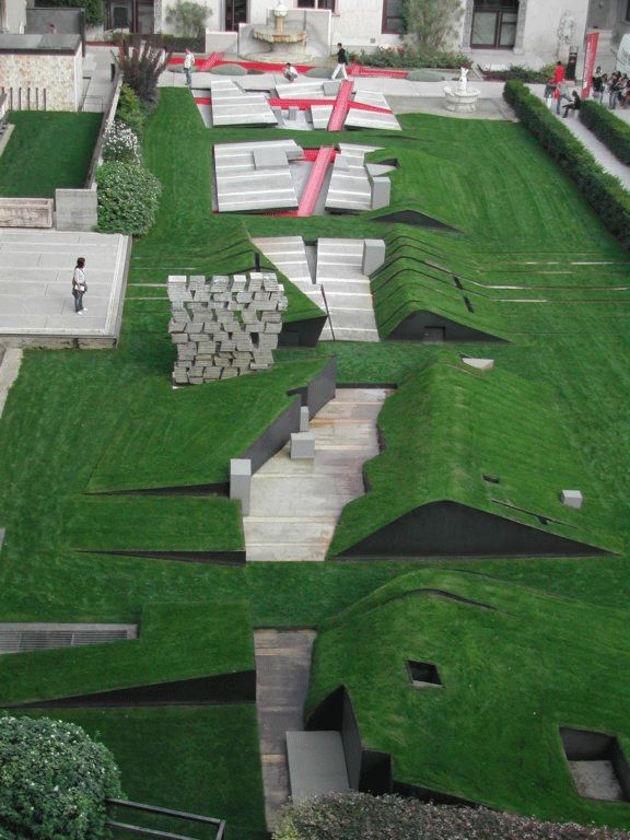carlos scarpa + peter eisenmann. the garden of lost footsteps. castelvecchio museum. verona. installation 2004.