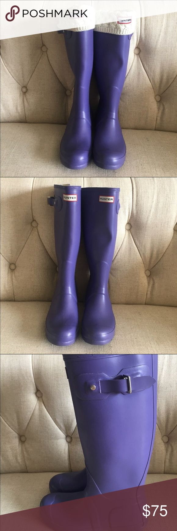 Hunter Rain Boots The perfect stylish rain boots to get you through the rainy days of winter and spring. These boots were only worn twice and are almost brand new! Not to mention the color is in line with Pantone's 2018 color ultra violet! Hunter Shoes Winter & Rain Boots