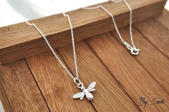Sterling Silver Bee Necklace, Bee Pendant, Bee Charm, Queen Bee, Sterling Silver Bee, Bee Jewelry, Little Bee, Gold Plated, Diva