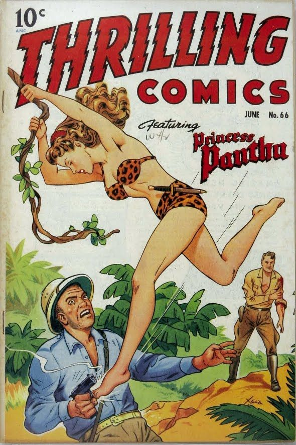 1940's comics book cover. Artwork by Alex Schomburg (1905–1998). A prolific Puerto Rican commercial artist and comic book artist and painter whose career lasted over 70 years.