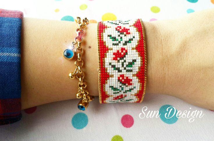 #miyuki #bileklik #bracelet #pattern #fashion #kırmızı #altın #peyote #brick #square #stitch #bahar #gelincik #çiçek #flower #beads #boncuk #beadloom #handmade #takı #tasarım