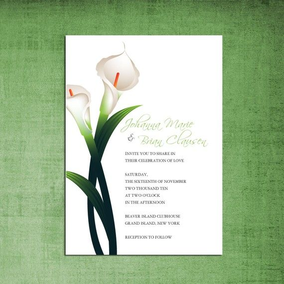 Calla Lily Wedding Invitation #WeddingInvitations #Wedding
