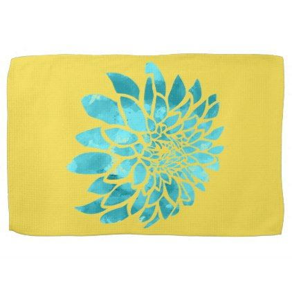 Blue Mum on Yellow Towel - kitchen gifts diy ideas decor special unique individual customized