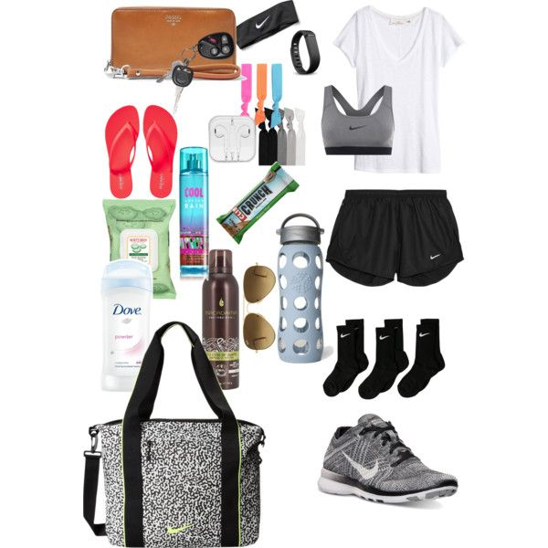 what's in my gym bag + outfit. by gatorgirl1377 on Polyvore featuring polyvore, fashion, style, H&M, NIKE, Old Navy, FOSSIL, Emi-Jay, Ray-Ban, Splendid, Fitbit, Burt's Bees and Lifefactory