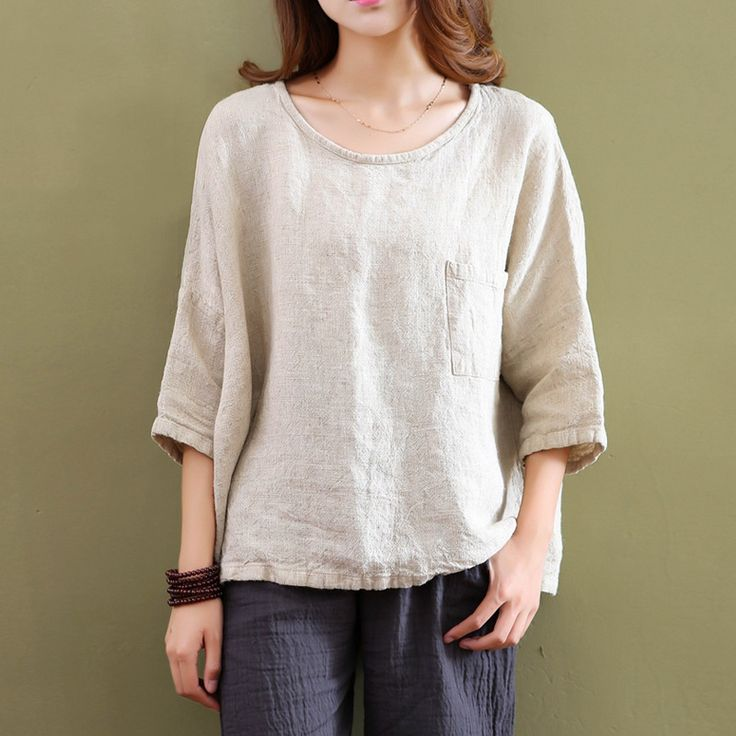 Cheap blouse top, Buy Quality blouse button directly from China blouse hanger Suppliers: Plus size White Linen Women Blouses Shirt Solid O-neck Loose Casual Summer Shirts Blouse Vintage Linen Tee shirt Tops 5001