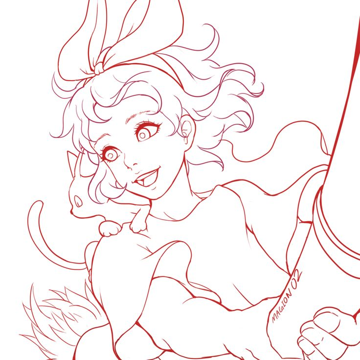 It is a graphic of Légend Kiki's Delivery Service Coloring Pages