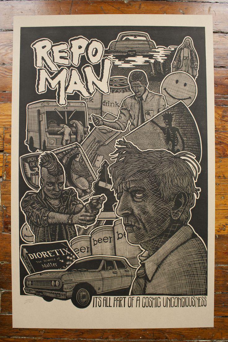 "24""x36"" Linoleum Relief Printed RepoMan Poster"