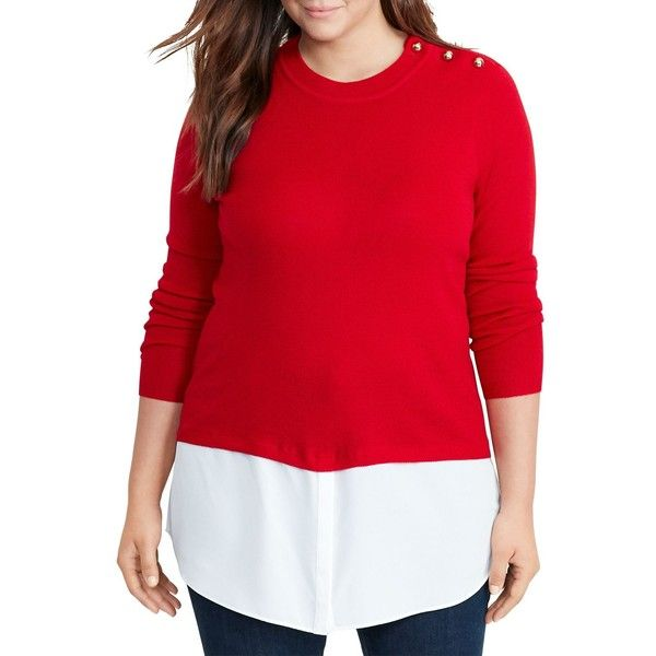 Lauren Ralph Lauren Plus Button Shoulder Mixed Media Sweater ($155) ❤ liked on Polyvore featuring plus size women's fashion, plus size clothing, plus size tops, plus size sweaters, brilliant red, plus size, pullover sweaters, plus size pullover sweaters, ralph lauren and plus size red tops