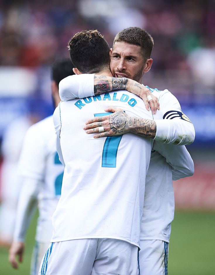 Cristiano Ronaldo Photos - Cristiano Ronaldo of Real Madrid celebrates with his teammate Sergio Ramos of Real Madrid after scoring the opening goal during the La Liga match between SD Eibar and Real Madrid at Ipurua Municipal Stadium on March 10, 2018 in Eibar, Spain . - Eibar v Real Madrid - La Liga